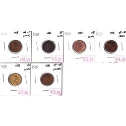 Group Lot 6x 1909 VDB USA Wheat Ear Cents. Coins range from VG to AU. Coins may be lightly cleaned o