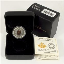 2014 Canada $5 Flowers in Canada - Tulip Fine Silver & Niobium Coin (Tax Exempt)