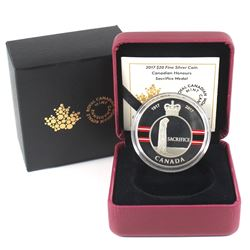 2017 $20 Canadian Honours - Sacrifice Medal Fine Silver Coin (outer sleeve is torn). TAX Exempt