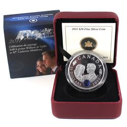 2011 Canada $20 Prince William & Kate Middleton Wedding Fine Silver Coin (Residue on outer sleeve).
