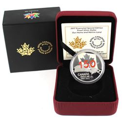 2017 Canada Red Enameled Special Edition Proof Silver Dollar - Our Home & Native Land (TAX Exempt).