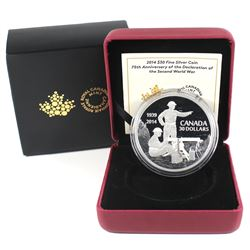 2014 Canada $30 75th Anniversary of the Declaration WWII Fine Silver Coin (TAX Exempt).