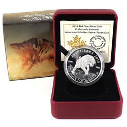 2015 Canada $20 Prehistoric Animals - American Scimitar Sabre-Tooth Cat Fine Silver Coin (TAX Exempt