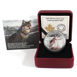 2015 Canada $20 Imposing Alpha Wolf Fine Silver Coin (TAX Exempt).