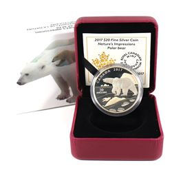 2017 Canada $20 Nature's Impressions - Polar Bear Fine Silver Coin (Toned). TAX Exempt