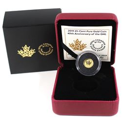 2019 Canada 25-cent 40th Anniversary of the GML Pure Gold Coin (TAX Exempt).