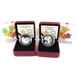 2014 Canada $25 O Canada Fine Silver Coins - Under the Maple Tree & Scenic Skiing in Canada. 2pcs (T