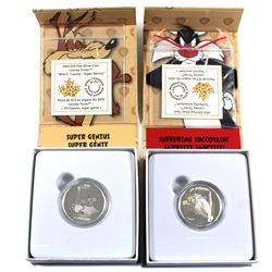 "2015 Canada $10 Looney Tunes Fine Silver Coins - Wile E. Coyote - ""Super Genius"" & Sylvester the Cat"