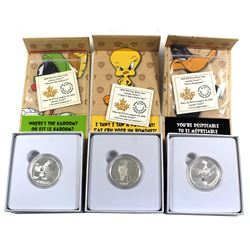 "2015 Canada $10 Looney Tunes Fine Silver Coins - Tweety Bird - ""I Tawt I Taw a Putty Tat"", Marvin th"