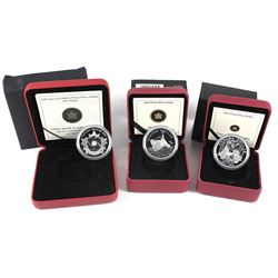 2004 Canada Special Edition Poppy, 2010 Canadian Navy & 2011 Parks Canada Proof Silver Dollars (2004