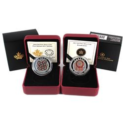 2013 Canada $10 Dreamcatcher & 2014 $10 First Nations Art - Salmon Fine Silver Coins. 2pcs (TAX Exem