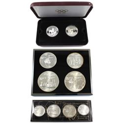 Group Lot of Canada Olympic Sterling Silver Coins. You will receive 1976 4x $5 and 4x $10 & 2x 1992