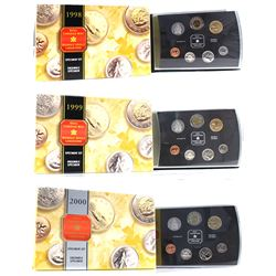 1998, 1999 & 2000 Canada Specimen Sets (1998 hard plastic holder is scratched & 1999 missing COA). 3
