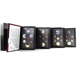 1992-1995 Canada Proof Double Dollar Sets in Hard Plastic Outer Casings (Silver dollars are toned).