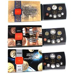 2000, 2001 & 2002 Canada Proof Double Dollar Sets (some coins are toned & 2001 sleeve has come unglu