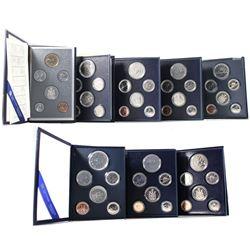 1981-1989 (missing 1988) Canada Specimen Sets (1982 5-cent capsule cracked, 1986 missing COA, 1986 5