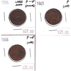 Group Lot 3x USA 2 Cents. Lot Includes: 1865 F, 1864 Large Motto F-VF, & 1866 F-VF. Coins may be