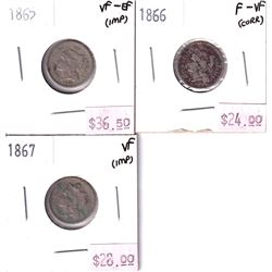 Group Lot 3x USA 3 Cents. Lot Includes: 1865 VF-EF, 1866 F-VF, & 1867 VF. Coins may be lightly clean