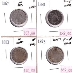 Group Lot of 4x USA Nickels. Lot includes 1867 No rays, 1868, 1883 'cents' Holed and plugged, & 1883