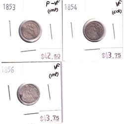 Group Lot 3x USA Silver Half Dimes. Lot includes 1853 F-VF, 1854 VF, & 1856 VF. Coins may be lightly