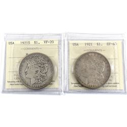 Set of 2x ICCS Certified USA 1921 Morgan Dollars. Lot includes 1921-S VF-20 & 1921 EF-40. 2pcs