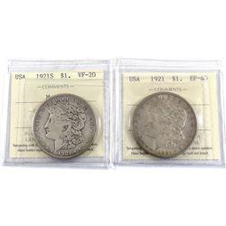 Set of 2x ICCS Certified USA 1921 Morgan Dollars. Lot includes 1921-S VF-20 & 1921 EF-40. 2pcs