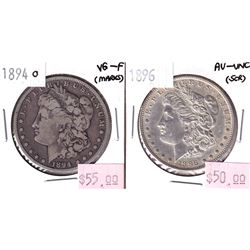 Lot of 2x USA Silver Morgan Dollars. Lot Includes 1894-O VG-F and a 1896 AU-UNC. Coins may be lightl