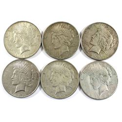 Group Lot 6x USA Silver Peace Dollars. Lot includes: 2x 1922, 1923, 1923-S, 1926 & 1926-S. Coins are