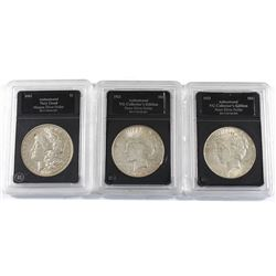 Group Lot 3x USA Silver Dollars. Lot includes: 1903, 1922, & 1923-S. Coins come in hard acrylic blac