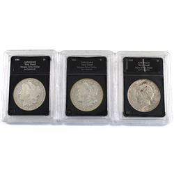 Group Lot 3x USA Silver Dollars. Lot includes: 1901-O, 1902-O, & 1923-D. Coins come in hard acrylic