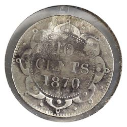 Newfoundland, 1870 10-cent Obverse 1 VG Details. *Key Date* Please note: Coin is heavily Impaired, s