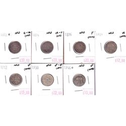 Group Lot 7x Newfoundland Silver 10-cent. Lot includes: 1872H, 1894, 1896, 1903 & 1912, 1938 & 1946