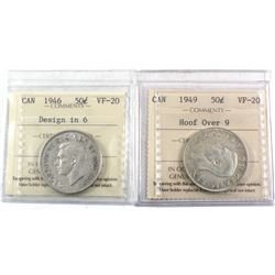 Lot of 2x Scarce 50-cent Varieties - 1946 Design in 6, & 1949 Hoof Over 9. Both coins ICCS Certified