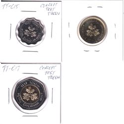 Lot of 3x RCM Concept Test Tokens. Lot includes: TT-C17, TT-C16, & TT-C15. All coins in pristine con