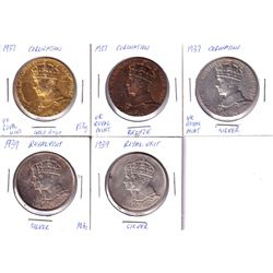 Lot of 5x King George 6th Medals. Lot includes: 3x Coronation strikes in Silver, Bronze & Gold Plate