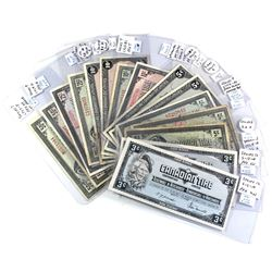 Estate Lot of 15x Mixed Vintage Canadian Tire Paper money. Notes range from AU-UNC to circulated con