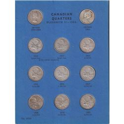 Canadian Quarter Collection in old Blue Whitman folder. Folder contains 19x Silver coins from 1953-1
