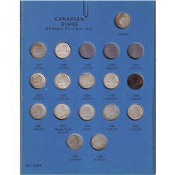 Canadian 10-cent Collection in Old Blue Whitman Folder. Folder contains 33x Silver Coins ranging fro