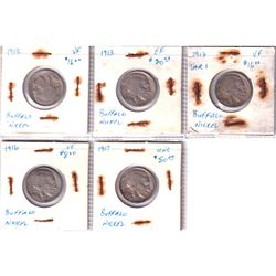 Estate Lot of 5x Older USA Buffalo 5-cents. Lot contains 3x 1913, 1916, & 1917. Coins range from Fin