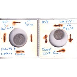 Estate Lot of 2x Old USA Silver coins. Lot includes a 1853-O Half Dime Variety 3 and a 1853 3 cent V