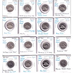 Estate Lot of 16x Canadian 5-cent from a collector who looked for errors and die enomolies like die