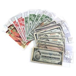 Estate Lot of 11x Mixed Vintage & 8x Modern Canadian Tire Paper Money. Notes range from AU-UNC to ci