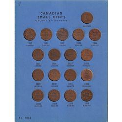Canada Small Cent Collection in Blue Whitman Folder 1920-1972 (includes 1922, 1923, 1924, & 1925). A