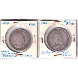 Lot of 2x 1800's Silver coins. Lot includes a 1889 G.B. Jubilee Half Crown Fine, and a 1892 Columbus