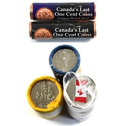 Group Lot of Canadian Bank Rolls. Lot includes, 2012 Magnetic and Non-Magnetic 1-cent Rolls, 2005 Vi