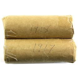 Estate Lot of 2x Canadian Large Cent Rolls. Lot includes a solid date Roll of 1917 and 1918. Coins a