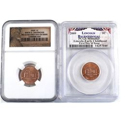 Pair of 2x 2009 United States 1-cent Lincoln Bicentennial Early Childhood First Day of Issued Slabbe