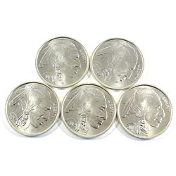 Lot of 5x 2012 1oz Pure Silver Rounds Depicting the USA Buffalo/Indian Head 5-cent. Coins are .999 P