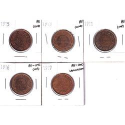 Lot of higher grade George 5th Large 1-cent. Lot includes: 1911 AU, 1913 AU, 1915 AU, 1916 AU-UNC, &