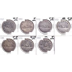 Lot of 7x Canadian Silver dollars. Lot includes: 1949, 1951, 1952, 1953 NSS, 1955 (holed), 1956 & 19